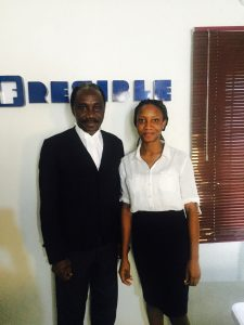 Odunayo Vivian Ajibola with Professor Ernest Ojukwu SAN at the Fresible Headquaters in August 2017